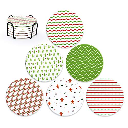 Coasters For Drinks Christmas Coaster Set with Holder, Absorbent Ceramic Stones with 6 X-Mas Patterns & Cork Base, 4 Inches, Set of 6, Christmas Eve Party Decoration, Gift for Birthday, Housewarming