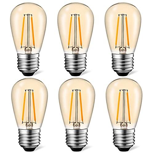 Suncan Lampadina LED Edison S14 E27, 2 W = 10 W, filamento vintage, vetro ambrato, bianco caldo 2700 K, angolo di diffusione 360°, non dimmerabile, confezione da 6