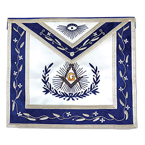 Master Mason with Embroidered Border Masonic Apron - [Blue & White]