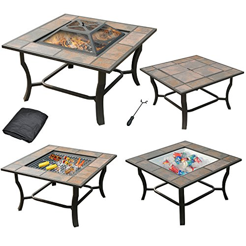 """Leisurelife 4 in 1, 32"""" Square Tile Top Wood Burning Fire Pit, Grill, Cooler and Coffee Table with Cover, Brownish Bronze"""