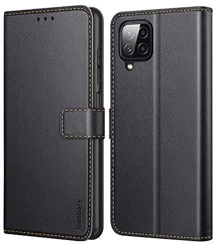 Ganbary Handyhülle für Samsung Galaxy A22 4G Hülle (Nicht für A22 5G), Premium Leder Tasche Flipcase [Kartenschlitzen] [Magnetverschluss] [Standfunktion] kompatibel mit A22 4G Schutzhülle, Schwarz