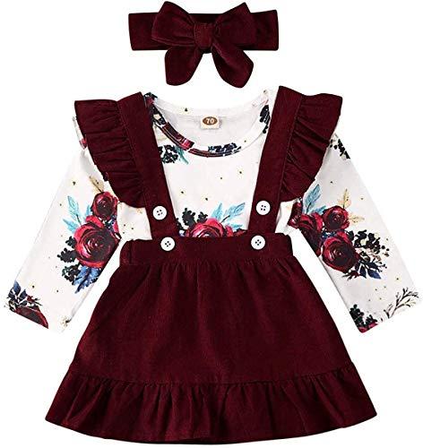 Neugeborenes Baby Mädchen Rock Top Sets Blumen Langarm Strampler Tops Hosenträger Gesamtkleid Stirnband Kleidung Outfits (Rotwein,6-12 Monate)
