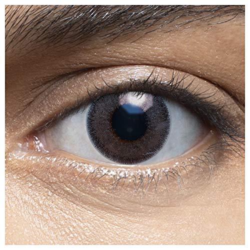 Sehr stark deckende und natürliche blaue Kontaktlinsen farbig MUSCAT DARKGREY + Behälter von LENSART - 1 Paar (2 Stück) - DIA 14.00 - ohne Stärke 0.00 Dioptrien