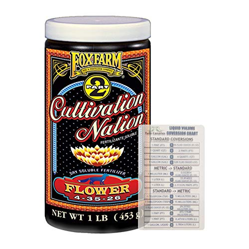 FoxFarm Cultivation Nation Flower 1lb | Soluble Fertilizer for Flowering | 1lb Canister + Twin Canaries Chart