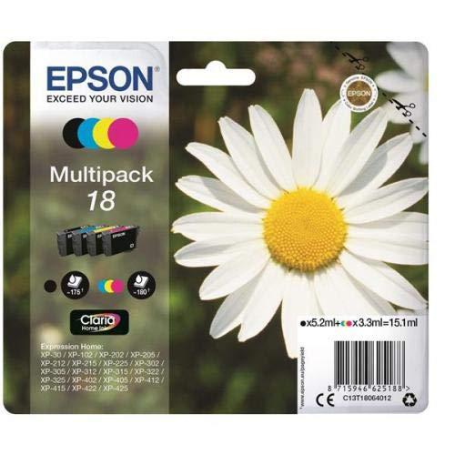 Epson 18 Serie Margherita C13T18064012, Cartuccia Originale, Standard, Multipack, 4 Colori, con Amazon Dash Replenishment Ready