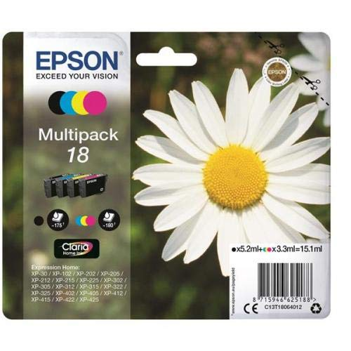 Epson 18 Serie Margherita C13T18064012, Cartuccia Originale, Standard, Multipack, 4 Colori, con Amazon Dash Replenishment Ready