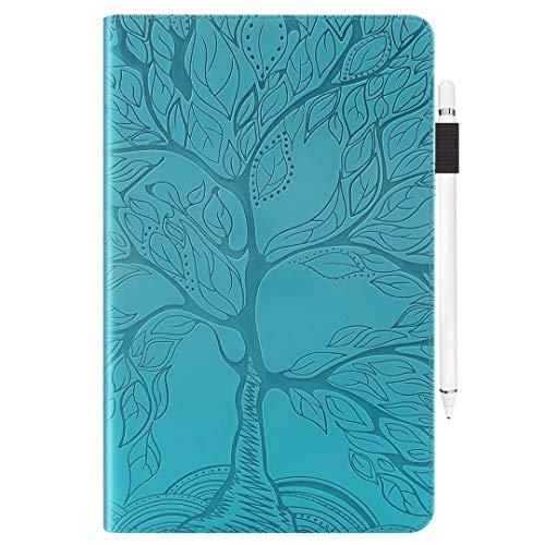 Ttimao Funda Samsung Galaxy Tab A 10.1' 2016 (SM-T580/T585) Tableta Carcasa Árbol en Relieve PU Cuero Folio Wallet Caso con Ranura para Tarjeta y Portalápices-Azul