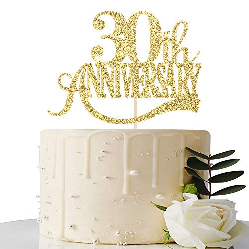 Gold Glitter 30th Anniversary Cake Topper - for 30th Wedding...