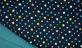 Softshell, bunte Sterne auf Blau als Meterware zum Nähen,