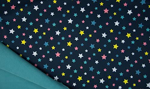 Softshell, bunte Sterne auf Blau als Meterware zum Nähen, 50 cm