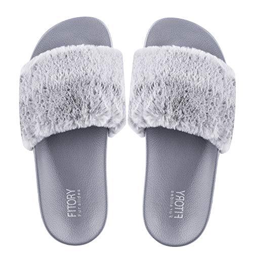 FITORY Damen Hausschuhe Plüsch Süße Weiche Indoor/Outdoor Pantoffeln mit Pelz rutschfeste,35-40 EU,Grau,39/40 EU
