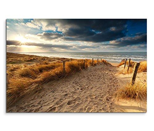 Paul Sinus Art 120x80cm Leinwandbild auf Keilrahmen Holland Nordsee Meer Strand Sonnenuntergang Wandbild auf Leinwand als Panorama