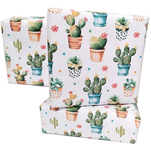 Umweltfreundliches Kaktus-Geschenkpapier, Unisex, 50 x 70 cm, 10 Stück