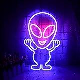 Alien - Cartel luminoso LED (15,7 x 10 pulgadas), con USB, decoración de pared, color azul y rosa, luz de neón para casa, habitación de los niños, bar, festival, cumpleaños, Navidad, fiesta de boda