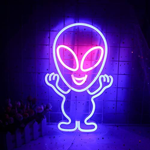 Alien - Cartel luminoso LED (15,7 x 10 pulgadas), con USB, decoración...