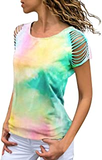 Women Tie-dye Print T-Shirts Stylish Short Sleeve Cut Out Tops Ladies Casual O-Neck Blouse