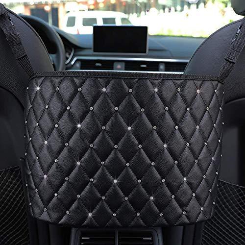 Kexle Car Handbag Holder, Holder Front Seat Storage,Seat Back Net Bag,Car Purse Storage&Pocket,Leather Organizer Mesh Large Capacity Bag(Black+Diamond)