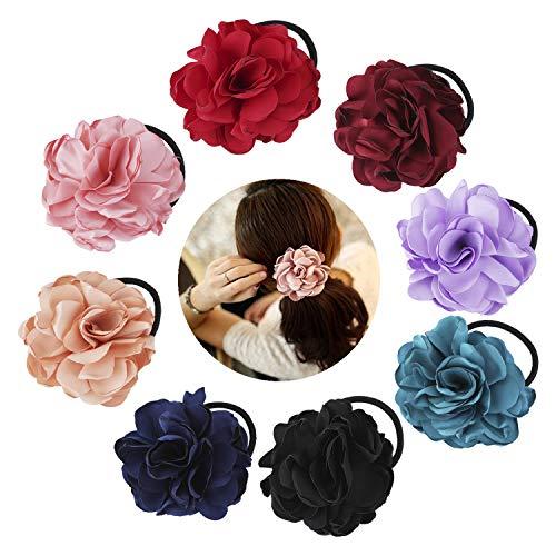 8 Pack Colorful Handmade Flower Hair Bow Elastics Hair Ties Stretchy Rubber Hairband Slim Headband Scrunchies Ponytail Holder Ring Loop for Women Girl