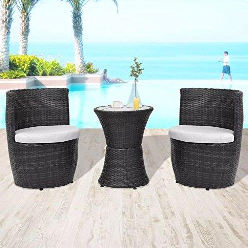 Furnituredeals Juego Bistro Sillas y Mesa de jardín 5unidades Polirratán negro.Questo Juego de alta calidad, sono robusto y resistente.Ideal para jardines y exteriores