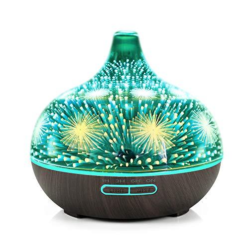 Aromatherapie luchtbevochtiger, aromatherapie, etherische olie, diffuser, mute-mistmaker, waterloos, automatische uitschakeling met 7 kleuren LED-lampen, zwart, houtpatroon basis & vuurwerk, LED-licht