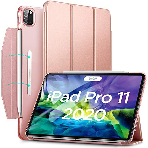 ESR Case for iPad Pro 11 2020 & 2018,Yippee Trifold Smart Case with Auto Sleep/Wake, Lightweight Stand Case with Clasp, Hard Back Cover, Rose Gold