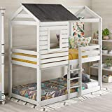 Twin Over Twin Bunk Bed Loft Bed Frame Bedroom Furniture with Roof Window Safety Guardrail and Ladder for Kids Teens Girls Boys, Solid Wood Loft Bunk Bed Mattress Foundation House Bed Twin (White)