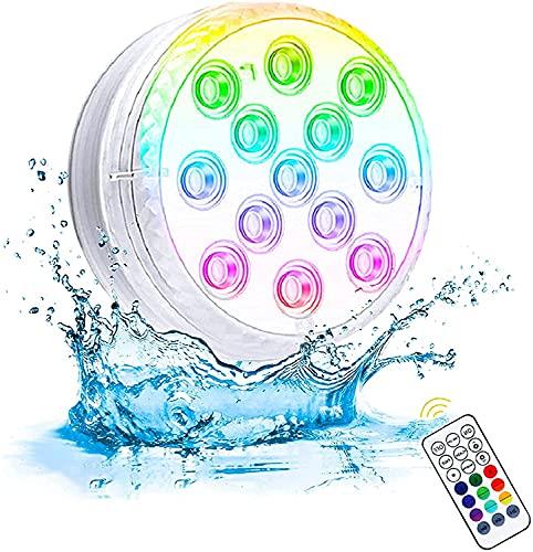 Unterwasser Licht, Ventdest Poolbeleuchtung Wasserdichte LED Licht, mehrfarbige RGB 13 LED mit Fernbedienung, Licht für Schwimmbad, SPA, Vasenbasis, Aquarium, Teich, Party Fest Dekoration