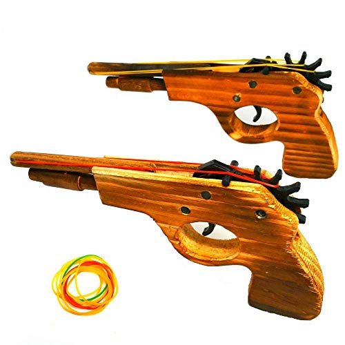 Adventure Awaits! - 2-Pack Rubber Band Gun - Quality Wood & Handmade - Easy Load - 8 Rubber Bands per Set