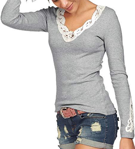 TrendiMax Damen V-Ausschnitt Langarmshirt Baumwolle Shirt Langarm Casual Oberteile,Grau,L