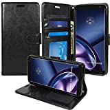 ZASE Galaxy S8 Active Hülle, für Samsung ATundT Wallet Hülle Pouch Premium PU Leder Flip Cover mit [Ständer] Kartenschlitz [Handgelenkschlaufe] Professional (Solid Black Luxury)