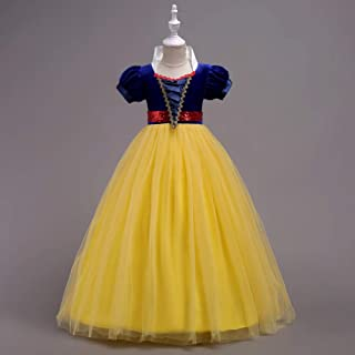 Luxury Children's Short-Sleeved Dress Princess Dress Fairy Princess Dress Tutu Dress Stage Performance Clothing Hit Color Dress ryq (Color : Yellow, Size : 130cm)