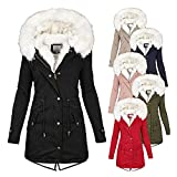 Abrigo de invierno para mujer, elegante, parka de invierno para mujer, chaqueta de felpa con capucha, parka de invierno para mujer con forro de felpa, abrigo de invierno, tallas grandes, verde, XXXXL