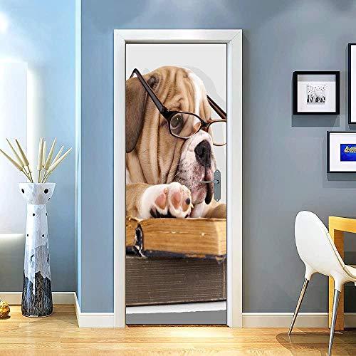 KEXIU 3D Cachorro de gafas PVC fotografía adhesivo vinilo puerta pegatina cocina baño decoración mural 77x200cm