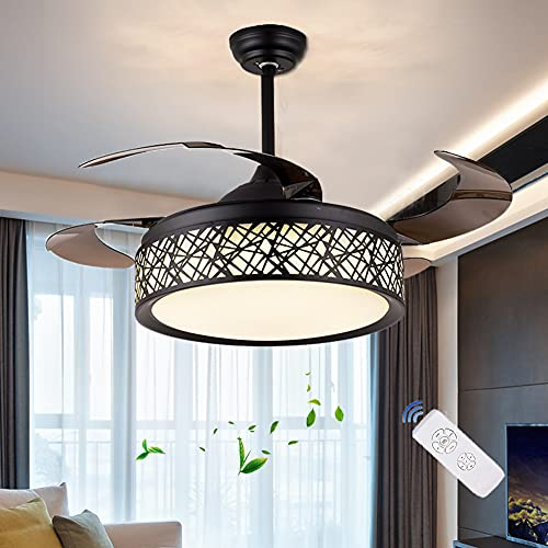 BANBAN Black Bird Nest Ceiling Fans with Lights