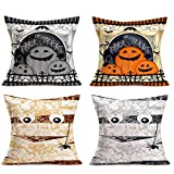 """Hopyeer Vintage Throw Pillow Covers Home Sofa Couch Decoration Pillowcase Happy Halloween Saying Trick or Treat Pumpkins Mummy Ghost Spider Square Cotton Linen Cushion Cover 18""""X18"""" 4Pcs (HH-Saying)"""