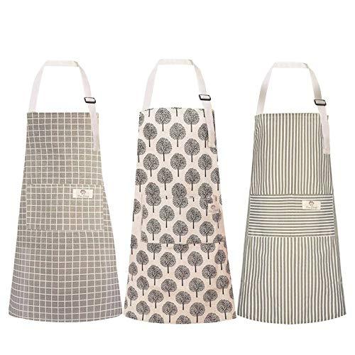 Surmounty Schürzen 3 Stücke Kochenschürze, wasserdichte Grillschürze mit 1 Tasche, verstellbare Küchenschürze Latzschürze für Kochen, Backen, Grillen, Handwerk Liebhaber