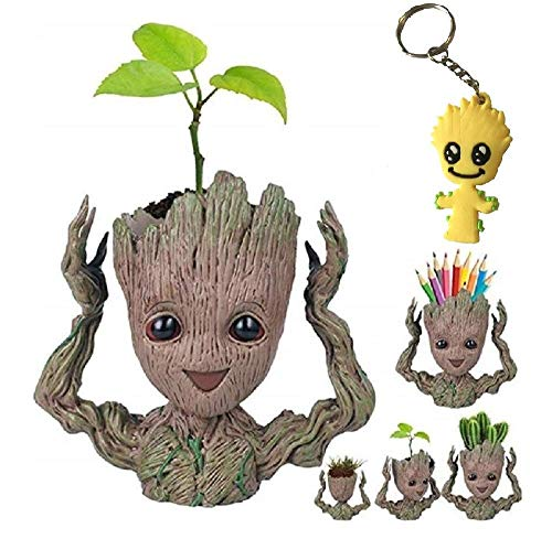 Cute Baby Groot Flowerpot Tree Man Planter Flower Pot with Drainage Hole Pencil Pen Holder,Diligencer Office Party Ornament Christmas Birthday Gift 6.3