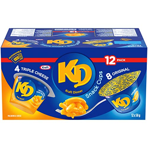 KD Kraft Dinner Snack Cups - Variety Pack - Original and 3 Cheese Macaroni & Cheese 58G x 12