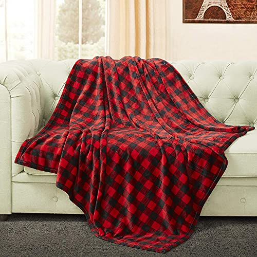 BEDELITE Fleece Blankets Red and Black Buffalo Plaid Twin Size Blankets for Couch & Bed, Plush Microfiber Fuzzy Checkered Blanket, Super Soft & Warm Lightweight Throw Blankets for Spring and Summer
