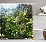 Cortina de ducha, cortina de ducha transparente, linda cortina de ducha con vista increíble a los lagos de montaña en los Alpes, juego de baño con ganchos, cortina de ducha de baño, cortina de ducha p