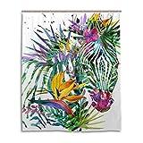 JSTEL Deko-Duschvorhang Zebra Exotische Tropische Pflanzen-Muster Druck 100prozent Polyester Stoff Duschvorhang 152,4 x 182,9 cm für Zuhause Badezimmer Dekorative Duschvorhänge