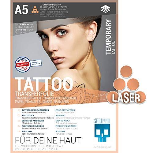 SKULLPAPER® temporäre Tattoo-Transferfolie FÜR DIE HAUT - SEHR GUT getestet - für Laserdrucker (A5-6 Blatt)