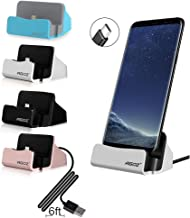 Agoz Silver Type C Charging Dock Desktop Charger Station For Samsung Galaxy S10 5G, S10 Plus S10e Note 10 9 8, S9 S8, LG Stylo 4, G8 ThinQ, V50 V40 G7,Google Pixel 3a XL,Moto Z4 Z3 Z2,OnePlus 7 PRO 6T