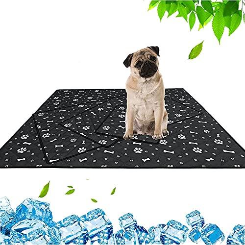 Alfombrilla de refrigeración para mascotas, con gel refrescante y diseño sencillo plegable, para el verano caliente para perros y gatos, S-35 x 31 cm, color negro