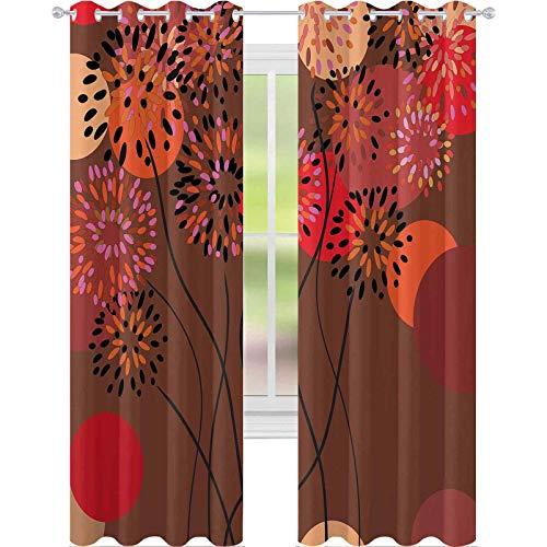 Cortinas de ventana que reducen el ruido, ilustración con motivos florales con pedículos ondulados y puntos grandes en colores otoñales, 108 x 84 pulgadas, cortina opaca para comedor, multicolor