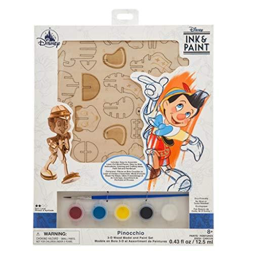 DS Disney Store - Juego de pintura de Pinocho en 3D de madera con diseño de marioneta, kit para pintar original y oficial