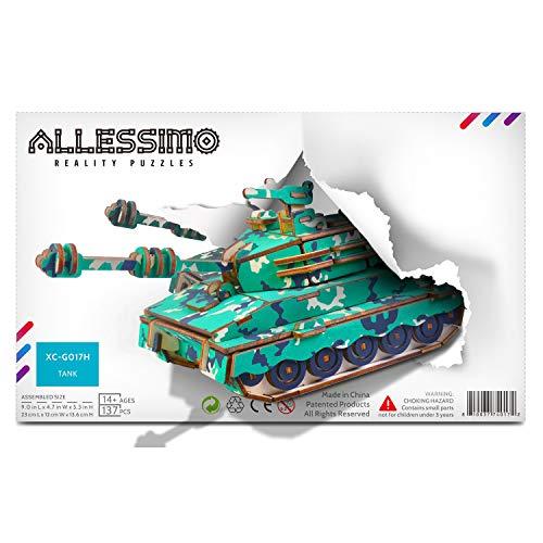 Allessimo 3D-Holzpuzzle Tactical Tank Assembly Modellbausatz für Kinder Jungen Mädchen Familie Puzzle ab 14 Jahren