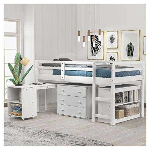 Pine Wood Loft Bed in White with Cabinet and Rolling Portable Desk for Family Bedroom and Student Apartment Large Space Loft Bed with Desk U.s. Local Delivery Goods Can Arrive Quickly