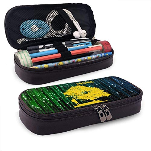 ZhaXiPingCuo Jack Johnson in Between Dreams Dance Leather Mäppchen Pencil Bag Makeup Pen Pouch Durable Students with Double Zipper Pen Holder for School Office