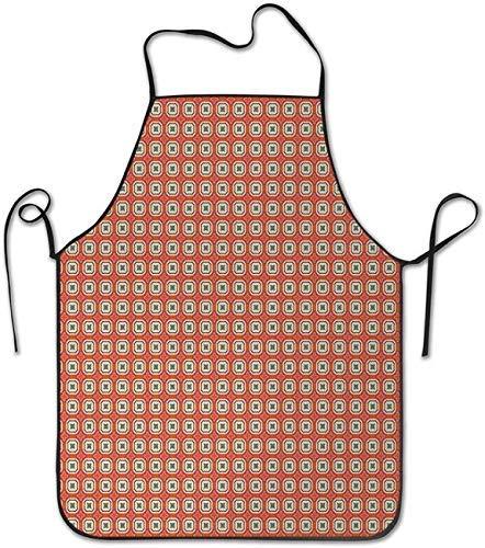 Mosaico de azulejos con elementos geométricos cuadrados y estrellas estilo retro composición parrilla cocina cocina restaurante chef delantal para hombres mujeres